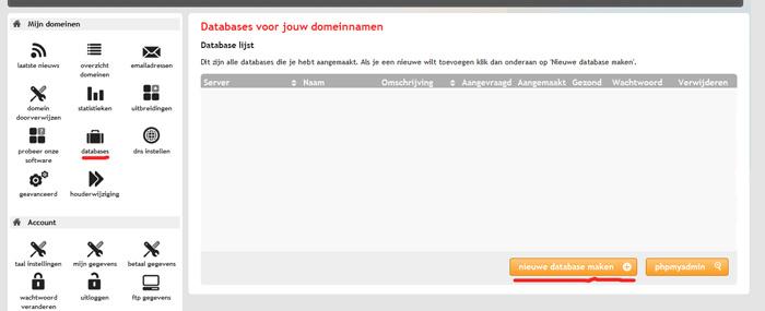 database-aanmaken-mijndomein.nl